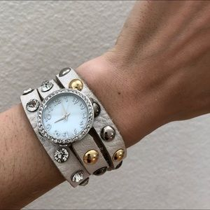 Accessories - White leather mixed metal & rhinestone wrap watch